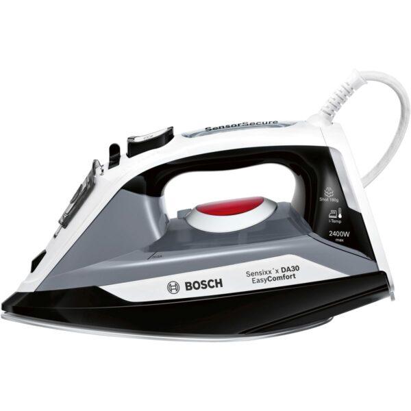Fier de calcat Bosch Sensixx'x DA30 EasyComfort TDA30EASY, 2400W, Talpa Ceranium Glissée Multidirecționala, I-Temp, 320 ml, sistem 3AntiCalc, 40g/min, super-jet abur 180 g/min, Mâner soft-touch, Culoare: negru / gri / alb