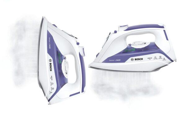 Fier de calcat Bosch Sensixx'x DA50 TDA5024010, Ceranium-Glissee, 2400 W, Alb/Albastru