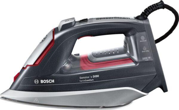 Fier de calcat Bosch TDI953222V, 3200 W, 0.31 L, Jet abur 230 g, Debit abur 65 g/min., AutoSteam, Talpă CeraniumGlissée, i-Temp Advanced, Display TempOK, 4AntiCalc, Gri
