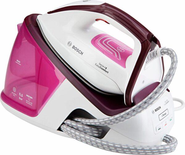 Statie de calcat Bosch EasyComfort TDS4020, 2400 W, Ceranium Glissée, 5,5 bar, i-Temp, 120 g/ min, super-jet abur 250 g/min, 1,4 l, Calc'nClean Easy, Calc'nClean Timer, culori: alb / light pink / deep berry
