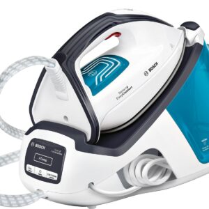 Statie de calcat Bosch EasyComfort TDS4050, 2400 W, Ceranium Glissée, 5,5 bar, i-Temp, 120 g/ min, super-jet abur 290 g/min, 1,4 l, Calc'nClean Easy, Calc'nClean Timer, culori: alb / ice blue / night blue