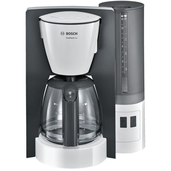 Cafetiera Bosch ComfortLine TKA6A041, 1200 W, 1.25 l (10) cesti, cana de sticlă, Aroma+, EasyDescale3, Alb/Antracit