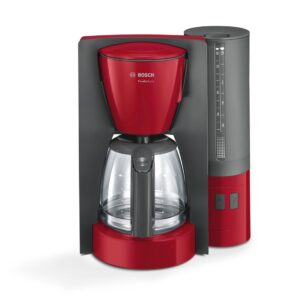 Cafetiera Bosch ComfortLine TKA6A044, 1200 W, 1.25 l, 10 cesti, cana de sticlă, Aroma+, EasyDescale3, Rosu/Antracit