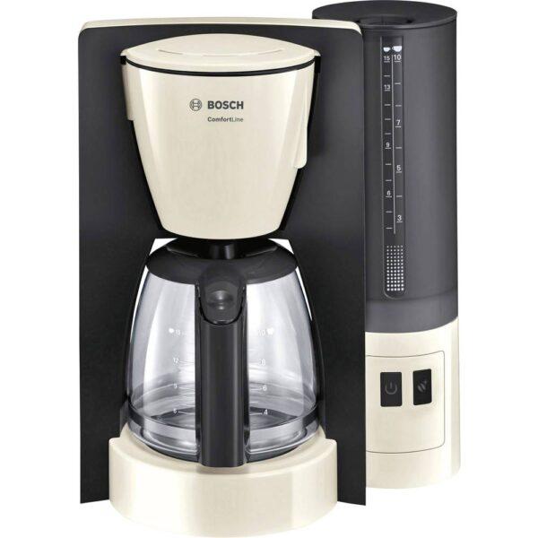 Cafetiera Bosch ComfortLine TKA6A047, 1.200 W, Vas sticla 1.25 l, 10 cesti, Aroma+, EasyDescale3, funcție auto shut-off programabilă, cream/antracit