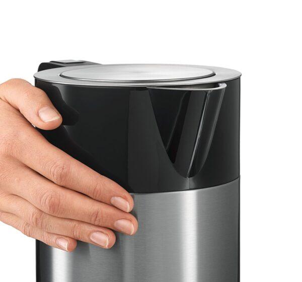 Fierbator de apa Bosch TWK7203, 2200 W, Cana termoizolanta cu pereti inox 1,7 l, Slider TouchControl (70-100°C), Filtru detasabil anti-calcar, Oprire automata, Inox/negru