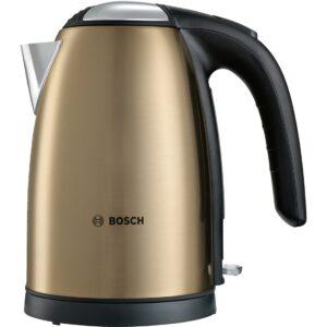 Fierbator de apa Bosch TWK7808, 2200 W, 1.7 l, cană din inox, filtru anti-calcar detasabil din inox, Auriu/negru