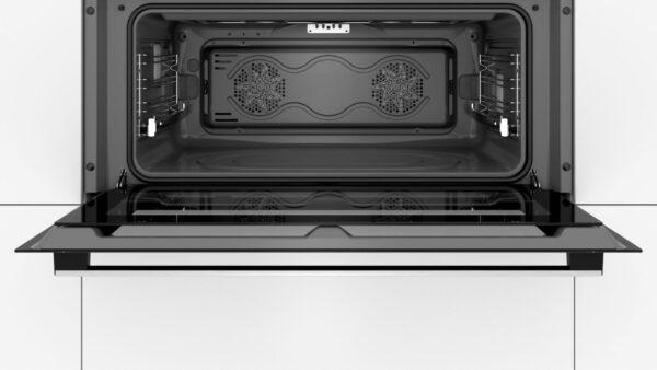 Cuptor incorporabil Bosch Serie 6 VBC5580S0, 90 cm, Electric, 85 l, Clasa A, 10 functii, Catalitic (pereti laterali, perete posterior), LCD, TouchControl si butoane retractabile, 1 suport telescopic independent, Inox