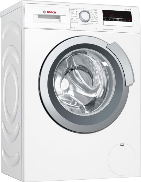 Maşină de spălat rufe Bosch Serie 6 WLL24260BY, 6.5 kg, 1200 rpm, Display, Funcţie de reincarcare, Tambur VarioSoft, Motor EcoSilence Drive™, Clasa A+++, Slim, Alb