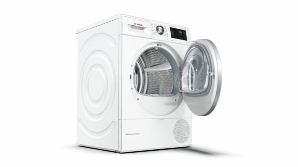 Uscator de rufe Bosch WTW8761BY, Pompa de caldura, 9 Kg, A++, SelfCleaning Condenser, Full touch LED Display, Alb