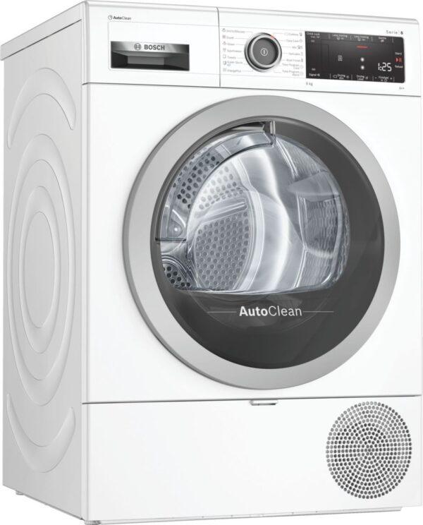 Uscator de rufe Bosch Serie 8 WTX87M90BY, Cu condensare, 9 Kg, Touch control, Afişaj LED, Iluminare interioară, Tehnologie AutoClean, Clasa A++, Alb