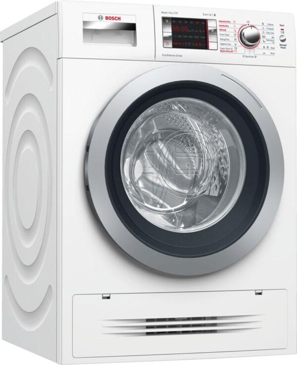 Maşină de spălat rufe cu uscător Bosch Serie 6 WVH28420BY, 7 kg spălare/4 kg uscare, 1400 rpm, Clasa A, Functie Reîncărcare, Motor EcoSilence Drive™, Display, Control electronic, Clasa A, Alb