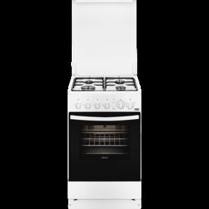 Aragaz Zanussi ZCG512G1WA, 50x60 cm; 4 arzatoare gaz; 53 litri; Timer, Aprindere electrica, Grill, Rotisor, Alb