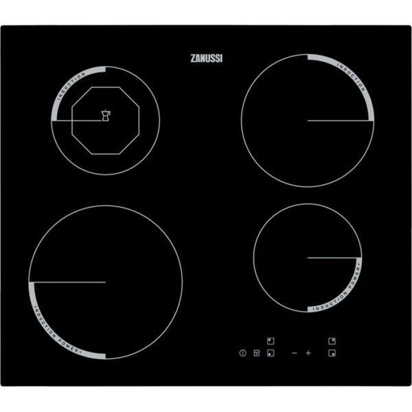 Plita incorporabila Zanussi ZEI6840FBA, Inductie, 4 arzatoare, Control Touch, Booster, 60 cm, Neagra