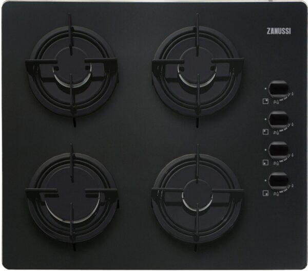 Plita incorporabila Zanussi ZGO62414BA, 4 arzatoare gaz; Aprindere electrica integrata; Control cu butoane lateral; Dispozitiv siguranta; 60 cm; Sticla neagra