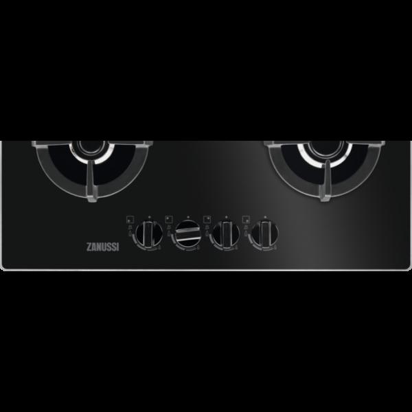 Plita incorporabila Zanussi ZGO68410BA, Gaz, Latime 60 cm, 4 arzatoare, Aprindere electrica integrata, Control cu butoane frontal, Dispozitiv siguranta, Gratare de fonta, Negru