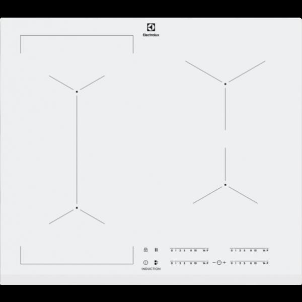 Plita incorporabila Electrolux EIV63440BW, Inductie, 4 Arzatoare, Bridge, Control touch, 60 cm, Sticla alba