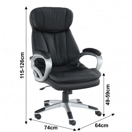 Fotoliu birou, piele eco neagră, GL ROTAR