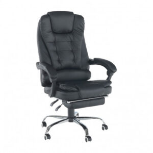 Fotoliu de birou cu suport pentru picioare retractabil, negru, GL TICHON
