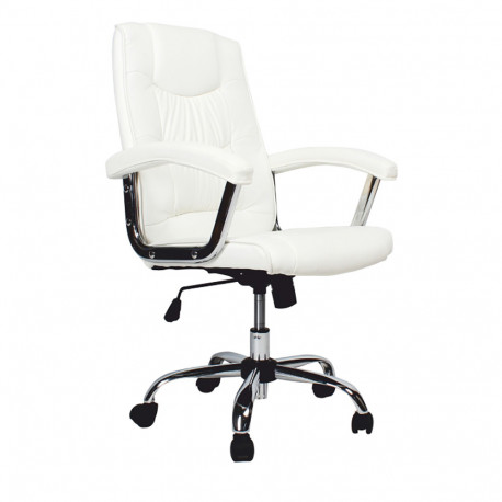 Fotoliu de birou, piele ecologică albă, GL LIONEL