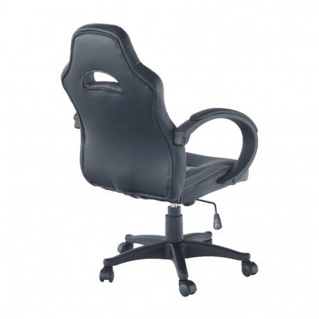 Fotoliu de birou, piele ecologică neagră/gri, GL NELSON
