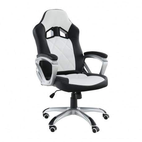 Fotoliu de birou, piele ecologică negru/alb, GL LOTAR