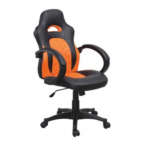 Fotoliu de birou, piele ecologică negru/portocaliu, GL NELSON