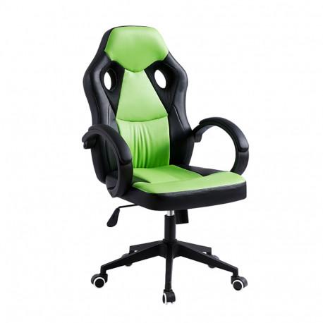 Fotoliu de birou, piele ecologică negru/verde, GL LESTER
