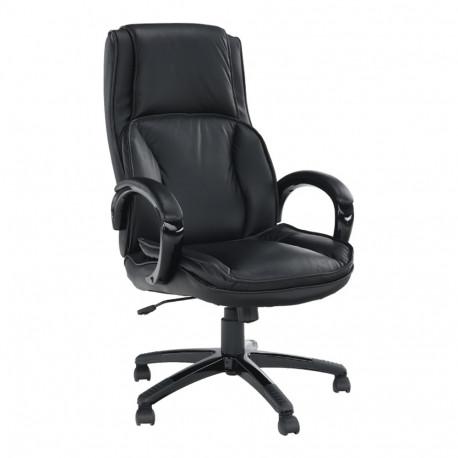 Fotoliu de birou, piele/piele ecologică neagră, GL LUMIR