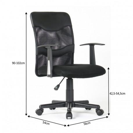 Fotoliu de birou, plasă/piele ecologică neagră/plastic, GL OBALA