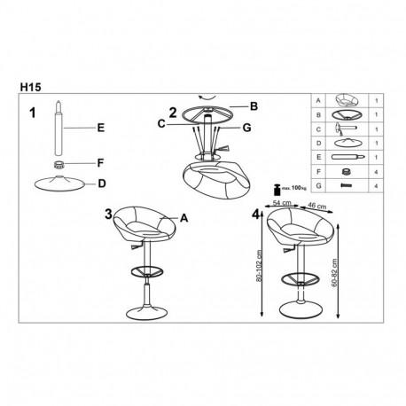 Scaun bar HM H15 gri