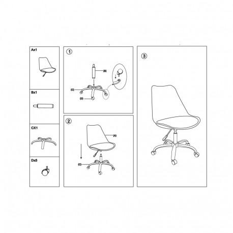 Scaun birou SL Q777 alb - negru
