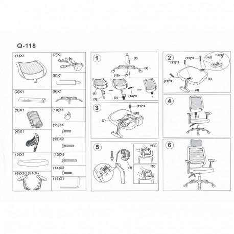 Scaun directorial mesh SL Q118 gri