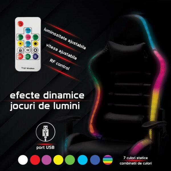 Scaun Gaming cu banda LED RGB OFF 301